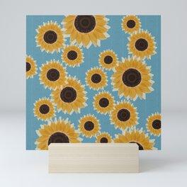 Big Yellow Sunflowers Blue Honeycomb Tile Mini Art Print