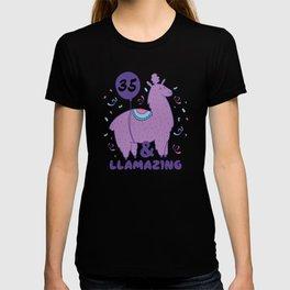 35 Year Old 35th Birthday Gift Llama T-shirt