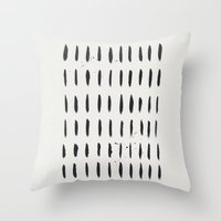 the strokes Throw Pillows featuring Strokes - black by Juste Pixx Designs