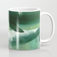 dolphins Mugs featuring Two Dolphins by Roger Wedegis
