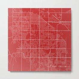 Fort Collins Map, USA - Red Metal Print