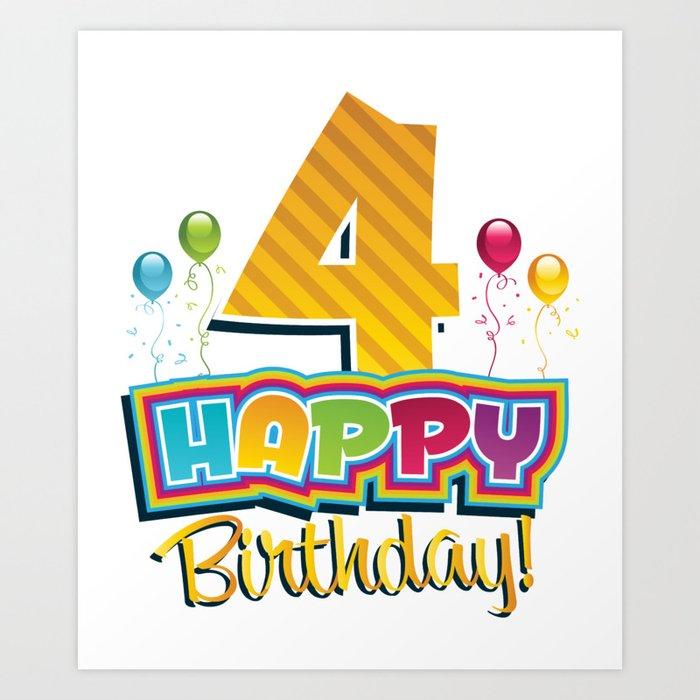 Kids Happy 4th Birthday Kids Bday Party Art Print By