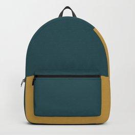 Forest Green & Golden Color Block Backpack