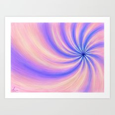 Peach Pinwheel - Abstract Drawing Art Print