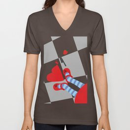 Girl looking from above a strawberry Unisex V-Neck
