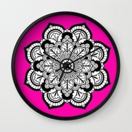 Black and White Flower in Magenta Wall Clock