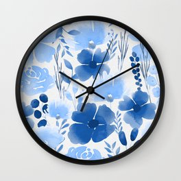 Watercolour background with variety of flowers XXIII Wall Clock