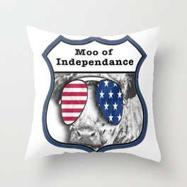USA Patriotic independence day 4th July Cow Throw Pillow