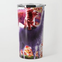 Laser Eyes Outer Space Cat Riding On Llama Unicorn Travel Mug