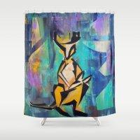 kangaroo Shower Curtains featuring KANGAROO by Matt Schiermeier
