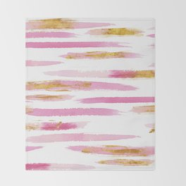 Chic Pink and Gold Watercolor Brush Strokes Throw Blanket