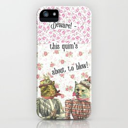 Beware! this  quim's about to blow! handcut collage iPhone Case