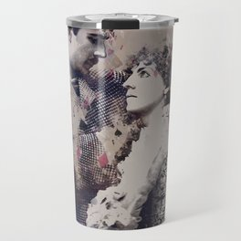 Vintage Lovely Couple Abstract Poker Papers Art Painting. Travel Mug