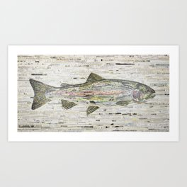 Rainbow Trout Collage (v2) by C.E. White Art Print