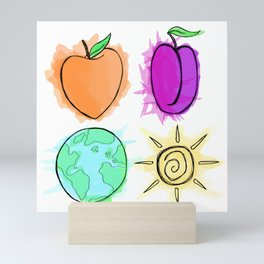 Peach, Plum, Earth, Sun Mini Art Print