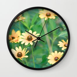 Black-Eyed Susan Yellow Flowers Nature Photography Wall Clock