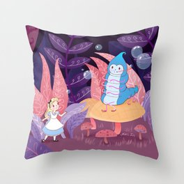 Alice In Wonderland and The Caterpillar Throw Pillow