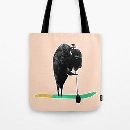 Buffalo on a baddle board in the ocean! Tote Bag