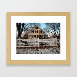 Rhode Island House and Fence and Dinosaurs Framed Art Print