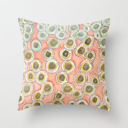 Simple Pastel Circle Pattern with Gold Throw Pillow
