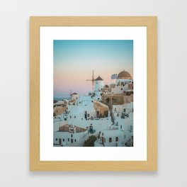 Santorini Sunrise, Greece (no people) Framed Art Print