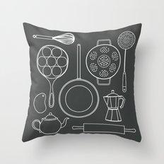 kitchen tools (white on black) Throw Pillow