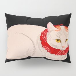 Shotei Takahashi White Cat In Red Outfit Black Background Vintage Japanese Woodblock Print Pillow Sham