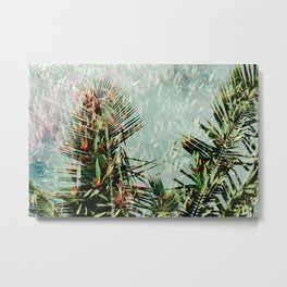 Palm Leaf Double Exposure Metal Print