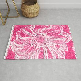 White Flower On Pink Crayon Rug