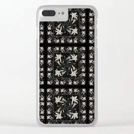 White Lily Patchwork Clear iPhone Case