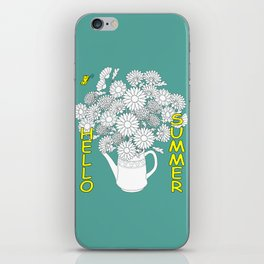 hello summer with yellow butterfly iPhone Skin