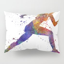 Woman runner jogger running Pillow Sham