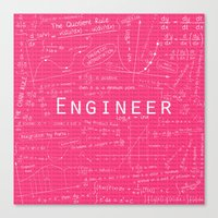 engineer Canvas Prints featuring PINK - ENGINEER by Be Raza