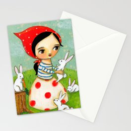 Bunches of Bunnies cute painting by Tascha Stationery Cards