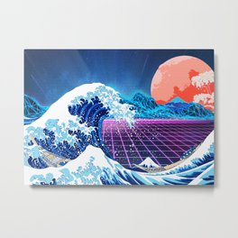 Synthwave Space: The Great Wave off Kanagawa #3 Metal Print