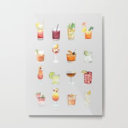 Classic Watercolor Cocktails Drinks Metal Print