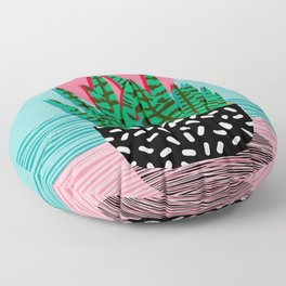 Edgy - wacka potted indoor house plant hipster retro throwback minimal 1980s 80s neon pop art Floor Pillow