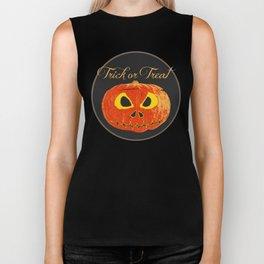 Scary Halloween Pumpkin Biker Tank