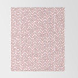 Herringbone Pink Throw Blanket