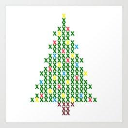 Cross Stitch Christmas Tree Art Print