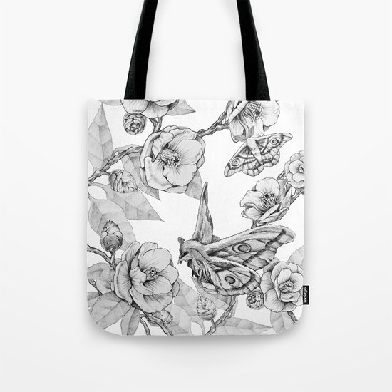 Moths & Camellias Tote Bag
