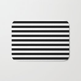 Black White Stripes Minimalist Bath Mat