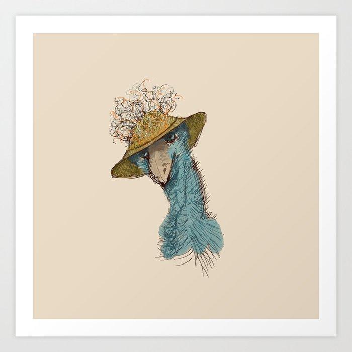 Bird in Hat 4 Art Print
