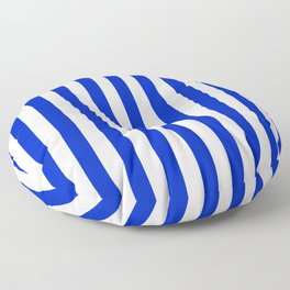 Cobalt Blue and White Vertical Beach Hut Stripe Floor Pillow