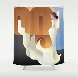 Art Deco Spain Flamenco dancer on sity landscape Shower Curtain