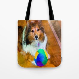 Sheltie with Ball Tote Bag