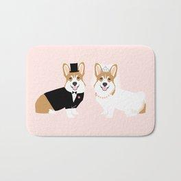 Corgi Bride and Groom - cute dog wedding, corgi wedding, dog, dogs, summer cute Bath Mat