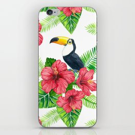 Toucan and tropical bouquet iPhone Skin