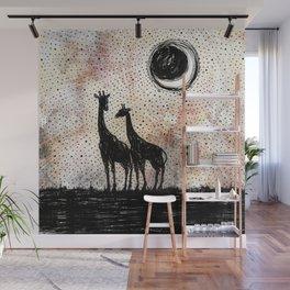 Giraffes in the Sunset Wall Mural