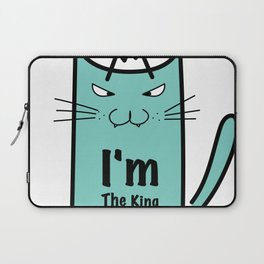 I'm The King Typography With Crazy Cat Laptop Sleeve